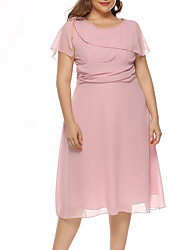 cheap -Women's A Line Dress Knee Length Dress Purple Blushing Pink Wine Dusty Blue Beige Gray Light Blue Short Sleeve Solid Color Summer Round Neck Work 2021 S M L XL XXL 3XL 4XL / Plus Size