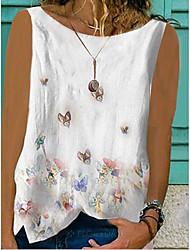 cheap -Women's Blouse Tank Top Animal Round Neck Tops Cotton White Yellow Blushing Pink