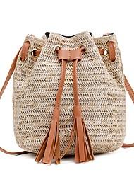 cheap -Women's Straw Crossbody Bag Straw Bag Solid Color Blushing Pink / Fuchsia / Brown