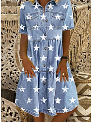 cheap -Women's Denim Shirt Dress Knee Length Dress Blue Short Sleeve Star Button Front Print Summer Shirt Collar Casual 2021 M L XL XXL 3XL