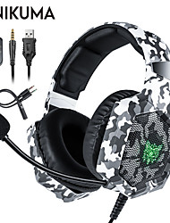 cheap -ONIKUMA K8 PS4 Camouflage Gaming Headset Casque Wired PC PUBG Gamer Stereo Gaming Headphones with Microphone LED Lights for XBox One Laptop Tablet