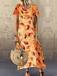 voordelige -Dames A-lijn jurk Maxi-jurk - Korte Mouw Bloemen Zomer Informeel Boho Feestdagen Vakantie 2020 blauw Geel Oranje M L XL XXL