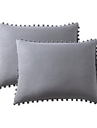 cheap -Bedding Pillowcases Soft Cotton Shams Solid Color Gray White Pillowcase Set Hypoallergenic Wrinkle Resistant (2PCS Pillowcases Without Insert)
