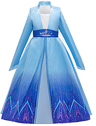 cheap -Fairytale Dress Girls' Movie Cosplay Cosplay Princess Vacation Dress Blue Dress Children's Day Polyester Cotton