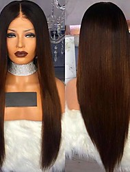 cheap -Remy Human Hair Full Lace Lace Front Wig Free Part style Brazilian Hair Natural Straight Brown Wig 150% Density Odor Free Soft Best Quality Natural Hairline Comfy Women's Long Human Hair Lace Wig