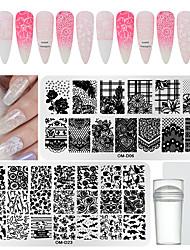 tanie -Stamper 1 * 4 szt&szablon skrobaka do tłoczenia Seria zwierzęca / Seria kwiatowa Multi-Design / Recykling Nail Art Manicure Pedicure Moda Codziennie