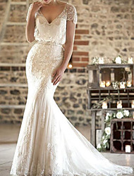 cheap -Mermaid / Trumpet Wedding Dresses V Neck Sweep / Brush Train Lace Short Sleeve Formal Sexy with Sashes / Ribbons Tassel Embroidery 2021