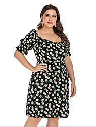 cheap -Women's Plus Size A-Line Dress Knee Length Dress - Short Sleeves Floral Summer Casual Vintage 2020 Black L XXXL XXXXL
