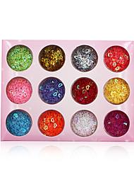 Χαμηλού Κόστους -12 τεμ / σετ πολύχρωμα πούλιες νυχιών 3d καρδιά σε κοίλα σχήματα glitter πούλιες αξεσουάρ διακοσμήσεων νυχιών