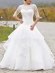 cheap -Ball Gown Wedding Dresses Jewel Neck Floor Length Lace Tulle 3/4 Length Sleeve Country Illusion Sleeve with Embroidery Cascading Ruffles 2021