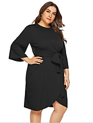 cheap -Women's Plus Size Shift Dress Knee Length Dress - 3/4 Length Sleeve Solid Color Summer V Neck Casual Chinoiserie 2020 Black Yellow L XL XXL XXXL XXXXL