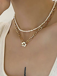 cheap -Women's Necklace Layered Necklace Dainty European Trendy Sweet Silver Plated Freshwater Pearl 46 cm Necklace Jewelry For Anniversary Party Evening Masquerade Street Beach