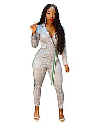 cheap -Women's Streetwear Set Slim Loose Striped Lace up Pant Shirt Collar