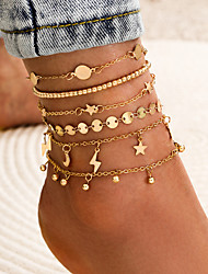 cheap -Leg Chain Simple Classic Trendy Women's Body Jewelry For Holiday Date Retro Alloy Moon Star Gold 6pcs