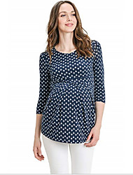 cheap -Women's Blouse Maternity Geometric Tops Round Neck Daily Spring Summer Dusty Blue Gray Light Blue S M L XL