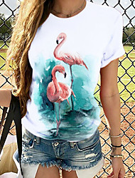 cheap -Women's T-shirt Graphic Tops - Print Round Neck Basic Daily Spring Summer White S M L XL 2XL