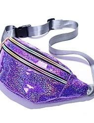 cheap -Women's Bags PU Leather Fanny Pack Zipper Solid Color 2020 Daily Blue Purple Dark Purple Silver