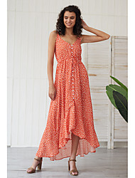 cheap -Women's Swing Dress Maxi long Dress - Sleeveless Polka Dot Solid Color Button Summer Elegant Going out Beach 2020 Red XS S M L XL