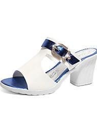 cheap -Women's Sandals / Clogs & Mules 2020 Summer Cuban Heel Peep Toe Daily Solid Colored PU Black / Purple / Orange