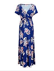 cheap -Women's A-Line Dress Maxi long Dress - Short Sleeves Print Summer Casual Chinoiserie 2020 Black Blue Blushing Pink S M L XL