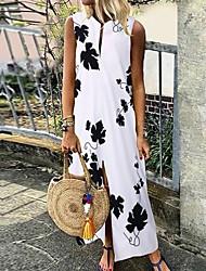 economico -Per donna Vestito a trapezio Vestito maxi - Senza maniche Fantasia floreale Estate Casual 2020 Bianco Nero Rosso Verde S M L XL XXL XXXL XXXXL XXXXXL
