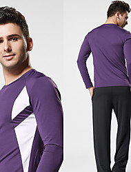 cheap -Men's Running Shirt Solid Color Violet Black Blue Yoga Running Fitness Top Long Sleeve Sport Activewear Breathable Quick Dry Moisture Wicking Stretchy Slim