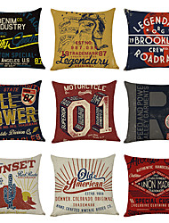 cheap -9 pcs Linen Pillow Cover, Vintage American Square Traditional Classic