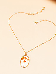 cheap -Women's Pendant Necklace Necklace Classic Floral / Botanicals Dainty Classic Elegant Trendy Acrylic Chrome Gold 45 cm Necklace Jewelry 1pc For Party Evening Masquerade Street Beach Festival