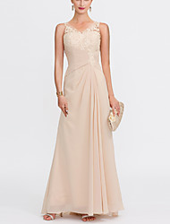 cheap -Sheath / Column Elegant Minimalist Engagement Prom Dress V Neck Sleeveless Floor Length Chiffon Lace Tulle with Pleats Lace Insert 2020
