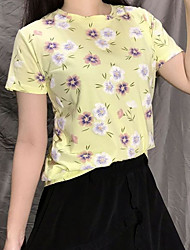 cheap -Women's T-shirt Floral Tops Round Neck Daily White Blue Yellow One-Size