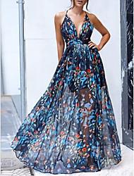 cheap -Women's Chiffon Dress Maxi long Dress - Sleeveless Floral Summer Sexy 2020 Blue S M L XL
