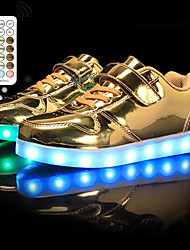 cheap -Boys' Girls' Sneakers LED Shoes USB Charging Flashing Shoes PU LED Shoes Little Kids(4-7ys) Big Kids(7years +) Daily Running Shoes Walking Shoes Rhinestone LED Luminous White Black Gold Spring Fall
