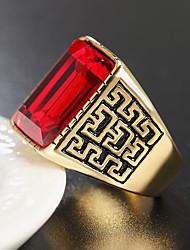 cheap -Ring Geometrical Black Blue Red Titanium Steel Glass Precious Vintage Fashion 1pc 9 10 / Men's