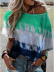 cheap -Women's Tops Color Block T-shirt Round Neck Daily Summer Blue Purple Red Yellow Orange Green Gray S M L XL 2XL 3XL 4XL 5XL