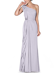 cheap -A-Line / Sheath / Column One Shoulder Floor Length Chiffon Bridesmaid Dress with Tier