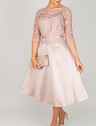 cheap -A-Line Mother of the Bride Dress Elegant Jewel Neck Tea Length Lace Satin 3/4 Length Sleeve with Embroidery 2020