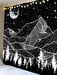 cheap -Sketch Wall Tapestry Art Decor Blanket Curtain Hanging Home Bedroom Living Room Decoration Trippy Mountain Landscape Moon Star Black and White