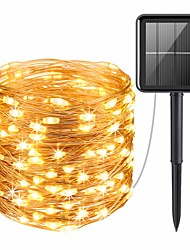 cheap -20M 200LEDs Solar LED String Lights Outdoor String Lights 8 Function Outdoor Waterproof Fairy Lights Garden Christmas Wedding Birthday Party Holiday  Decoration Light