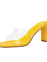 cheap -Women's Sandals 2020 Spring / Summer Pumps Open Toe Sexy Daily Solid Colored PU Almond / Black / Yellow / Clear / Transparent / PVC