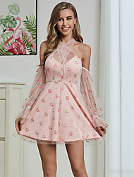 cheap -Women's A-Line Dress Short Mini Dress - Long Sleeve Floral Zipper Summer Elegant Vintage Daily Going out Puff Sleeve 2020 Blushing Pink S M L