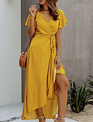 cheap -Women's A-Line Dress Maxi long Dress - Short Sleeves Polka Dot Floral Summer Work 2020 Black Yellow Blushing Pink Orange Green Rainbow S M L XL XXL