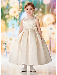 cheap -A-Line Floor Length Wedding / Party Flower Girl Dresses - Lace / Satin Cap Sleeve Jewel Neck with Solid