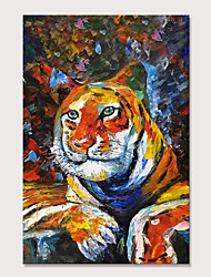 cheap -Mintura Hand Painted Tiger Animal Oil Paintings on Canvas Modern Abstract Wall Picture Pop Art Posters For Home Decoration Ready To Hang With Stretched Frame