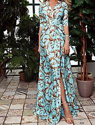 cheap -Women's Sheath Dress Maxi long Dress Blue 3/4 Length Sleeve Print Summer V Neck Hot Boho 2021 S M L XL