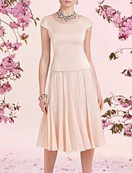 cheap -A-Line Mother of the Bride Dress Elegant Jewel Neck Knee Length Chiffon Satin Sleeveless with Pleats 2020