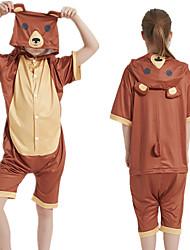 cheap -Kid's Kigurumi Pajamas Bear Onesie Pajamas Silk Fabric Brown Cosplay For Boys and Girls Animal Sleepwear Cartoon Festival / Holiday Costumes / Leotard / Onesie