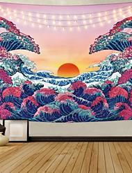 cheap -Kanagawa Wave Ukiyo-e Wall Tapestry Art Decor Blanket Curtain Hanging Home Bedroom Living Room Decoration Japanese Painting Style Sunrise Sunset Landscape