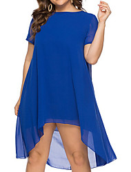 cheap -Women's Chiffon Dress Knee Length Dress - Short Sleeves Solid Color Summer Work 2020 Blue XL XXL XXXL XXXXL XXXXXL