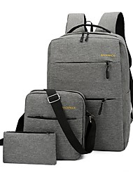 cheap -Men's Bags PU Leather Oxford Cloth School Bag Commuter Backpack Bag Set 3 Pcs Purse Set Zipper Solid Color Daily Backpack 2021 Black Blue Red Gray
