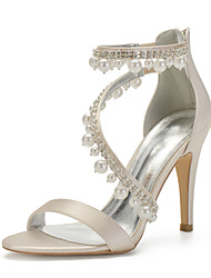 cheap -Women's Wedding Shoes Spring / Summer Stiletto Heel Open Toe Sexy Minimalism Roman Shoes Wedding Party & Evening Rhinestone / Imitation Pearl Solid Colored Satin White / Black / Purple